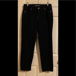 INC dark denim jeans.